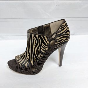Nine West Calf Hair Zebra Open Toe Booties